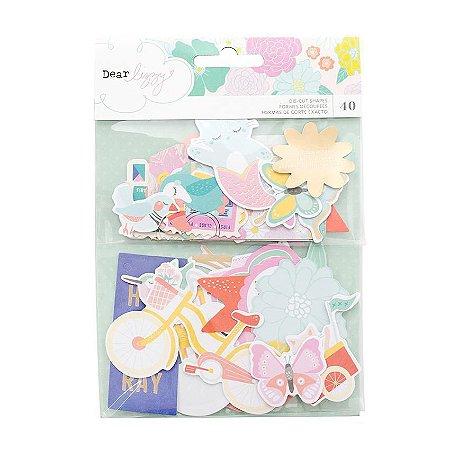 Die cuts (recortes de papel) com foil dourado- Dear Lizzy - Stay Colorful - American Crafts