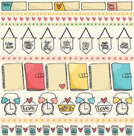 Papel scrapbook 30x30 Caderninhos - Linha Bem Estar- Goodies