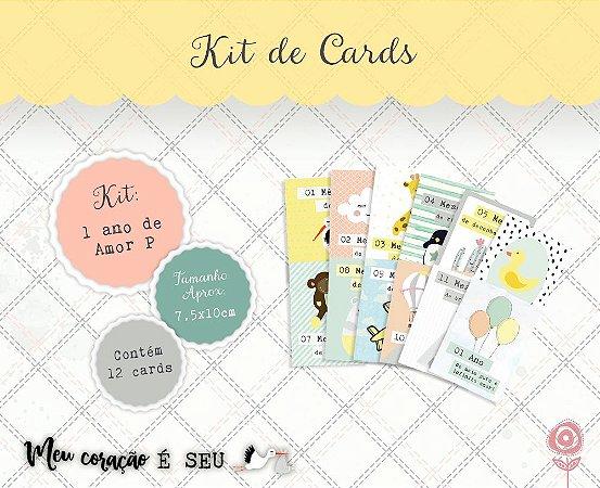 Kit de cards 1 ano de amor P - Coleção Meu Coração é Seu - Juju Scrapbook