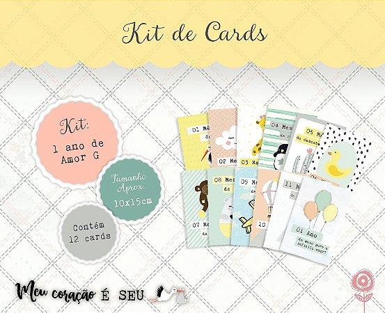 Kit de cards 1 ano de amor G - Coleção Meu Coração é Seu - Juju Scrapbook