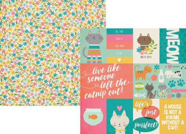 Papel para scrapbook - 30x30 - Dupla Face - Life is Purrfect - Gato - Simple Stories