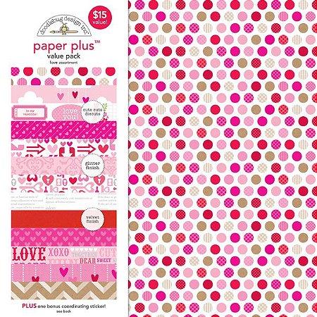 KIt de papéis e adesivos Love - Amor - Doodlebug