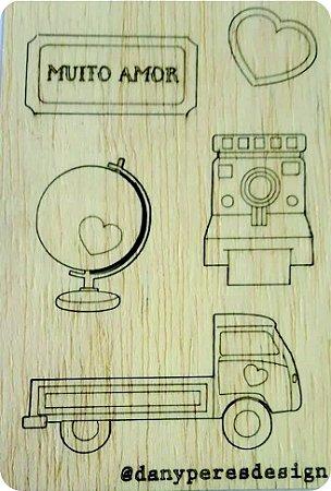 Apliques em madeira recortados - Figuras fofas (são destacáveis) - Linha Felicidade -Dany Peres