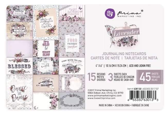 Bloco de cards 10x15cm Lavender, 45 folhas, Prima