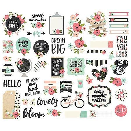 Die cuts Bloom Simple Stories, com 47 peças