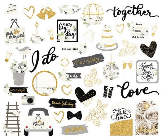 Die cuts Always and Forever com 46 peças Simple Stories
