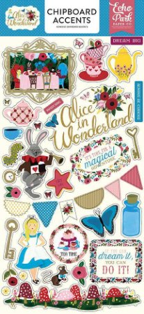 Adesivos chipboard Alice in Wonderland, 15x30 Echo Park
