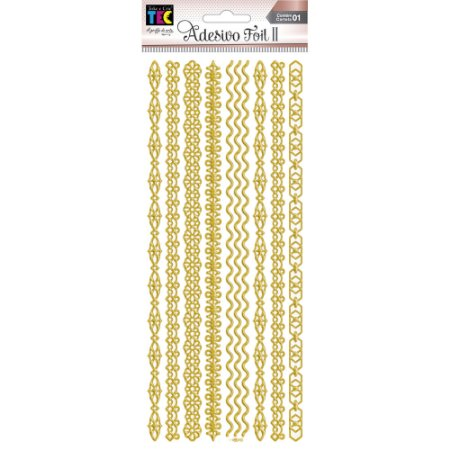 Adesivo Foil II Dourado Faixas TEC