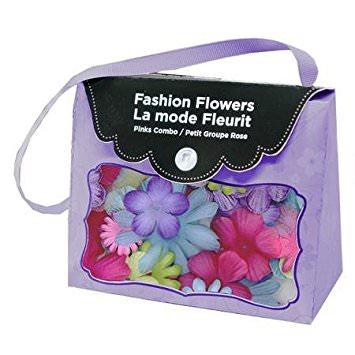 Bolsinha de flores de tecido Roxa com 20 peças Imaginisce