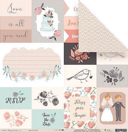 Papel para scrapbook - 30x30 Coleção Felizes para sempre - Dia de Festa - Casamento - Juju Scrapbook