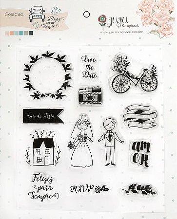 Cartela de carimbos Coleção Felizes Para Sempre - Save the date - Casamento - Juju Scrapbook