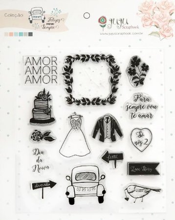 Cartela de carimbos Coleção Felizes Para Sempre - Só nós dois - Casamento - Juju Scrapbook