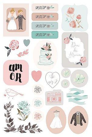 Adesivos Coleção Felizes Para Sempre - Dia dos Noivos - Casamento - Juju Scrapbook