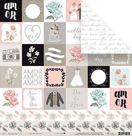 Papel para scrapbook - 30x30 Coleção Felizes para sempre - Amor e mais Amor - Casamento - Juju Scrapbook
