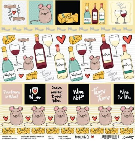Papel para scrapbook - 30x30 Kitchen & Co - Cozinha - Wine & Cheese - Goodies
