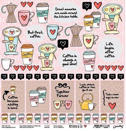 Papel para scrapbook - 30x30 Kitchen & Co - Cozinha - Coffee & Co- Goodies