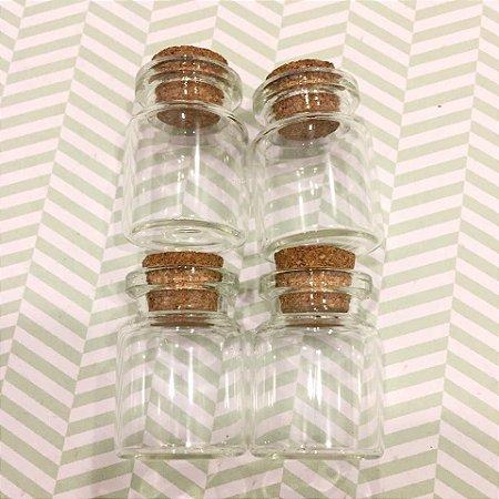 Kit com 04 mini frascos de vidro com rolha - Art Montagem