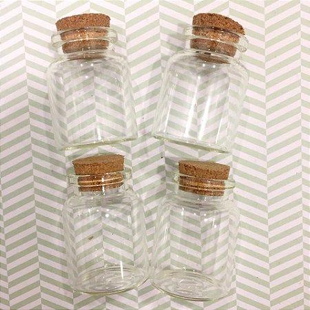 Kit com 4 mini frascos de vidro com rolha - Modelo 4 - Art e Montagem