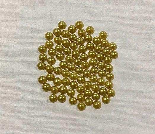 Kit com 10 gramas de meia pérola 8mm - dourado