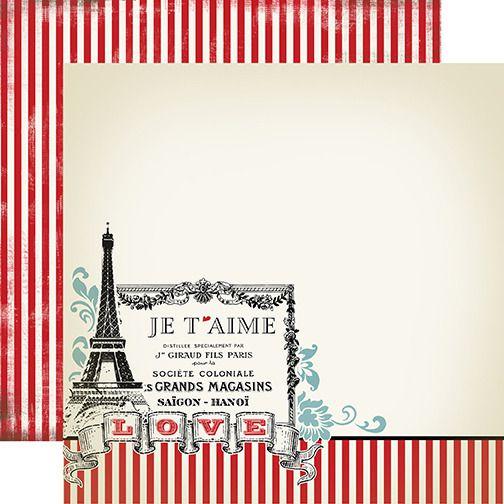 Papel scrapbook 30x30 I Love you  - Amour - Amor - Carta Bella