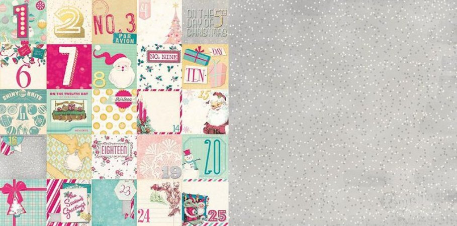 Papel scrapbook 30x30 Candy Cane Lane Countdown - Natal - Bo Bunny
