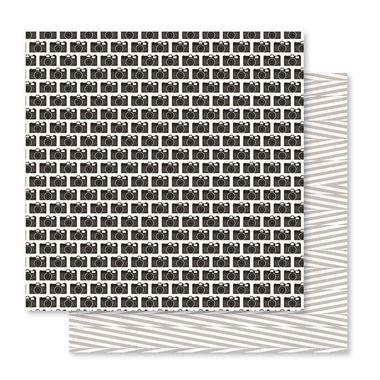 Papel scrapbook 30x30 Snapshots - Memorandum - Câmeras - PInk Paislee