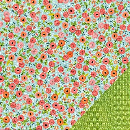 Papel Scrapbook 30x30 - Happy Day - Blooms - Pebbles