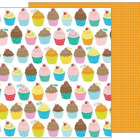 Papel Scrapbook 30x30 - Happy Hooray - Eat Cake - Pebbles