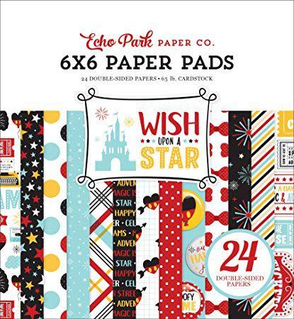 Bloco de papéis 15x15 cm - Wish upon a star - Disney - Echo Park