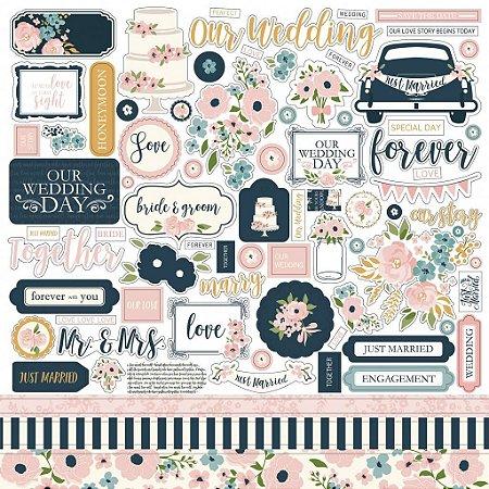 Adesivos 30x30 - Just Married - Casamento - Echo Park