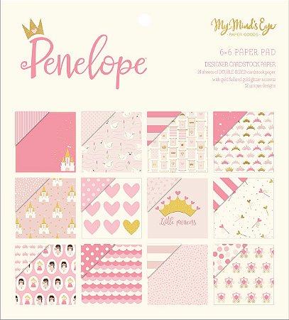 Bloco de papel scrapbook 15x15 - Foil dourado - Penelope - Princesa -MME
