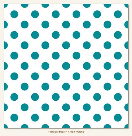 Papel de Scrapbook 30,5x30,5 cm - Face Simples - Teals Dot - My Minds Eye