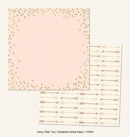 Papel de Scrapbook 30,5x30,5 cm - Tux Celebrate Gold Foiled  - My Minds Eye