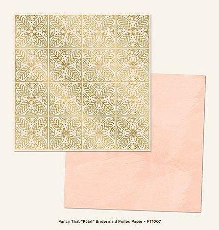 Papel de Scrapbook 30,5x30,5 cm - Pearl Bridesmaid Gold Foiled  - My Minds Eye