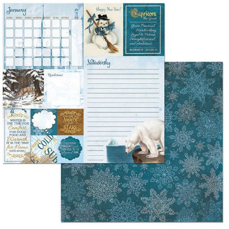 Papel Scrapbook - 30x30 - On This Day Paper - January - Bo Bunny