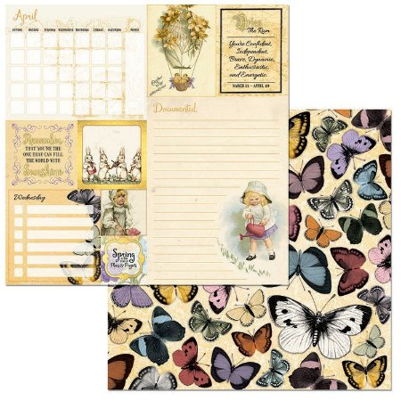 Papel Scrapbook - 30x30 - On This Day Paper - April - Bo Bunny