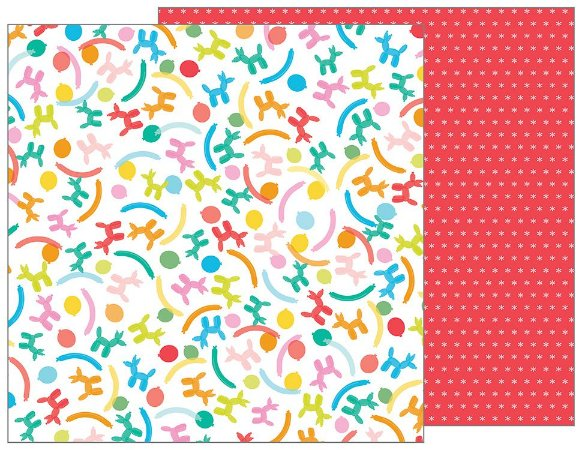Papel Scrapbook - 30x30 - Balloon Animals - Pebbles
