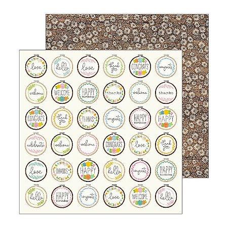 Papel Scrapbook - 30x30 - My Bright Life - Cross Stitched - Pebbles