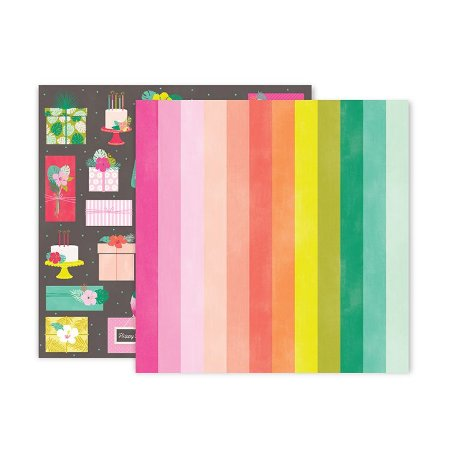 - Papel Scrapbook - 30x30 - Confetti Wishes Paper 7 - Pink Paislee