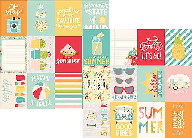 Papel Scrapbook - 30x30 - 3x4 Journaling Card Elements - Summer Days -  Verão - Simple Stories