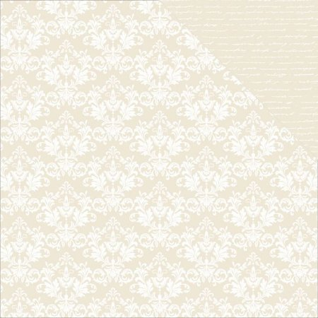Papel Scrapbook - 30x30 - Beige Damask - Kaiser Crafts