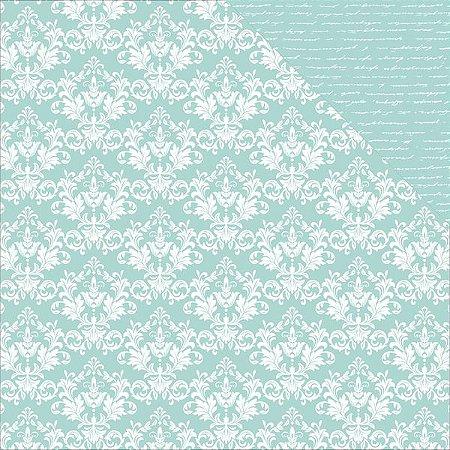 Papel Scrapbook - 30x30 - Seabreeze Damask - Kaiser Crafts