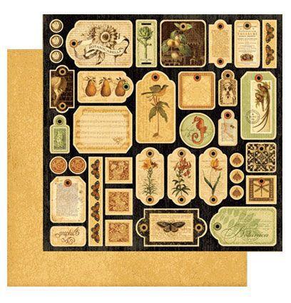 Die Cuts Folha 30x30,5 cm - Botanicabella Tags - Graphic 45