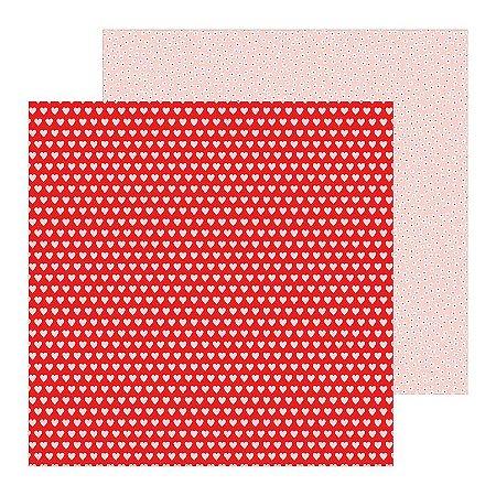 Papel scrapbook 30x30 Loves me - Hearts a Flutter - Amor - Pebbles