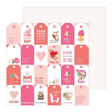 Papel scrapbook 30x30 Loves me - Tags Youre It- Amor - Pebbles