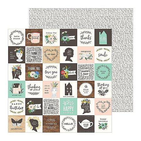 Papel scrapbook 30x30 Along the way - Sweet Sentiments - Pebbles