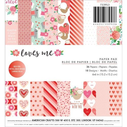 Bloco de papéis de scrapbook 15x15 Loves me - Amor - Pebbles