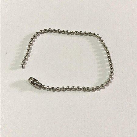 Corrente de bolinha prata 1,5 mm - 10cm -  Importado