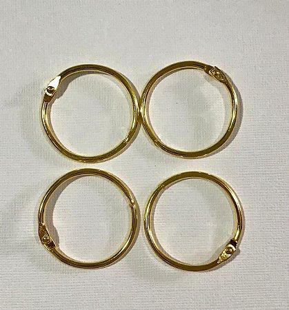Kit 4 argolas articulada metal douradas - 30mm diâmetro - Importado