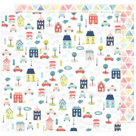 Papel para scrapbook - 30x30 - Dupla Face - Lovely Day - Beep Beep - American Crafts